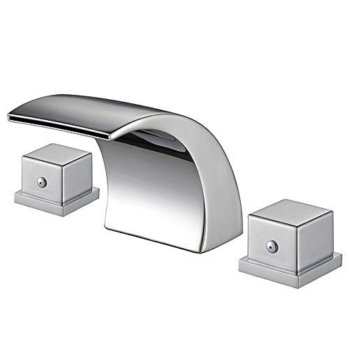 Aposhion Widespread Bathroom Double Handles Chrome Finish Hot/Cold Water Mixer Waterfall Basin Faucet Perfect for 8 Inch 3 Holes Sink, L3.54W3.15H3.35inch -