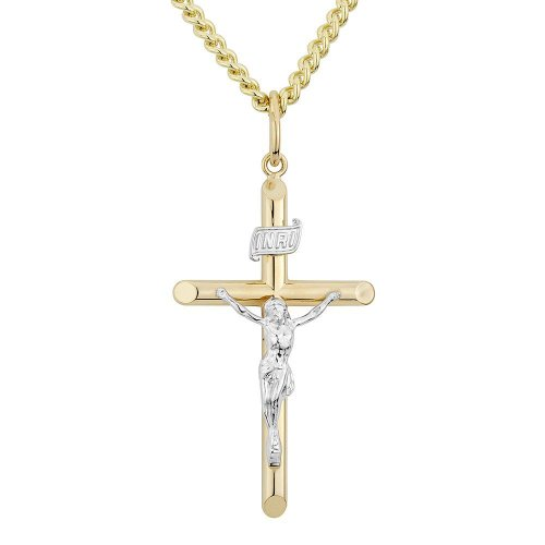 Men's Crucifix Two-Tone Religious Pendant With 24