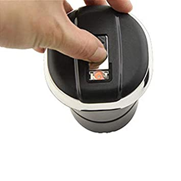Zalock Autozubeh?r Aschenbecher mit LED-Licht und Deckel Abnehmbar Auto Aschenbecher mit Metall-Liner und Zigarettenanz/ünder Windaschenbecher f/ür Auto Haushalt B/üro