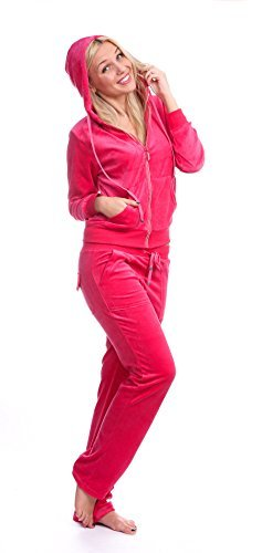 2-piece Set: Hooded Velour Track Suit with Rhinestone Trimming (Medium, Melon)