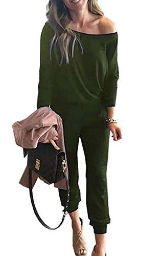 - Angashion Women's Jumpsuits - Crewneck One Off Shoulder Long Sleeve Elastic Waist Playsuits Romper Jumpsuit with Pockets Army Green S