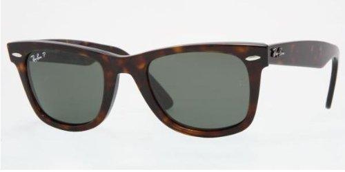Ray-Ban Sunglasses 2140 Wayfarer 902/58 Tortoise Green Polarized 47mm - Ban Polarized Wayfarer Ray 47mm