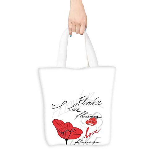 Poppy Tote Bag Stylized Red Blossom with Romantic Inscription Love of Nature and Flower Ripstop Waterproof 16.5