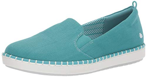 CLARKS Women's Step Glow Slip Loafer Flat Aqua Canvas 095 W US (Footbed Removable)