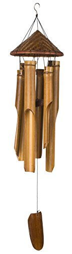 Woodstock Chimes CHT339 Asli Arts Collection Bamboo Chime, Large, Woven Hat