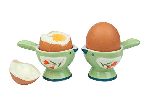 - WD- 2 Pcs Cute couple Bird Figurine - Ceramic serve egg cups for soft or hard boiled eggs (Egg holder) - for Breakfast Brunch,kitchenware, home decoration or even a gift-green color