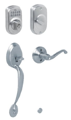 Schlage FE365-PLY-FLA-LH Left Handed Plymouth Electronic Handleset with Flair Le, Satin (Fla Lh Plymouth)