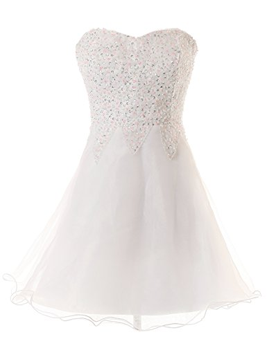 Dresstells Short Sweetheart Homecoming Dress Organza Dress Strapless Dress with Sequins for JuninorsUnder $100 Size 4