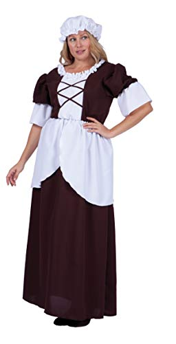 RG Costumes Women's Plus-Size Colonial Peasant, Brown/White, X