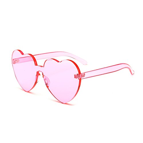 Bedis Colorful Transparent Heart Shape Sunglasses One Piece Rimless Eyewear BD210 (Pink, - Shape For Round Sunglasses Face