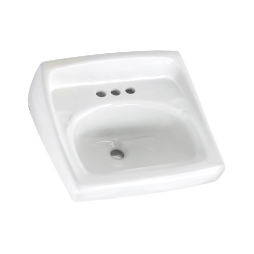 American Standard 0355.027.020 Lucerne Wall-Mount Lavatory Sink with 4-Inch Faucet Holes for Exposed Bracket Support, White