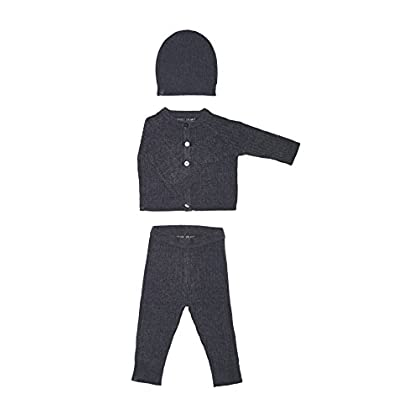 Image of Baby Barefoot Dreams CCUL Infant Ribbed Cardi, Pant & Hat Set, Pacific Blue, Extra Small
