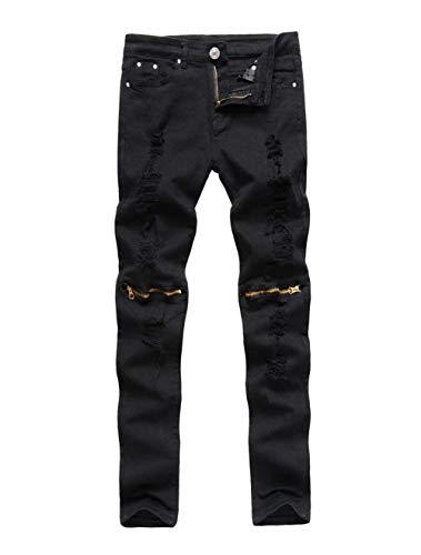 Adelina Jeans Denim Streetwear Nero Super Abbigliamento Al Nuovi Club Chiusura Ginocchio Skinny Da Uomo Pantaloni RRqrdPw