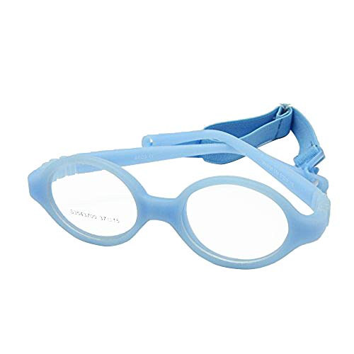 EnzoDate Baby Glasses Size 37/15 No Screw Safe Bendable with Strap, Fliexible Optical Children Round Frame with Regular Lenses, Kids Eyeglasses & Cord (blue)