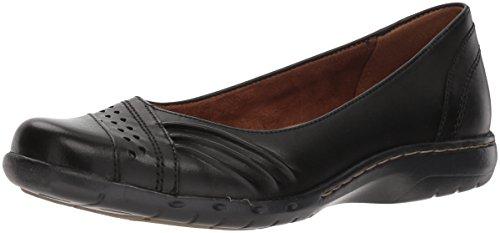 Rockport Women's Haley Skimmer Loafer Flat, Black Leather, 9.5 M US