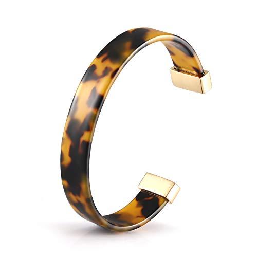 Open Cuff Bracelet Statement Acrylic Resin Lucite Cuff Bracelet Minimalist Tortoise Shell Bangles Bracelet Adjustable Lightweight Bangle (Tortoiseshell) ()