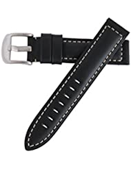 Hadley Roma Heavy Duty 20mm Oil Black Sport Leather Watch Strap