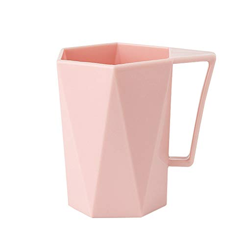 (MaxFox Students Novelty Cup Personality Milk Juice Lemon Mug Coffee Tea Reusable Plastic Water Cup Washing Cup for Home/Office (Pink))