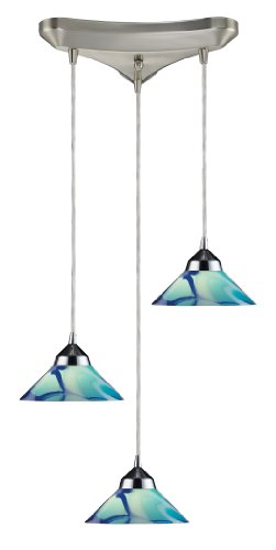 Elk 1477/3CAR 3-Light Pendant in Polished Chrome and Caribbean Glass
