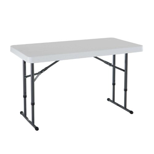 - Lifetime 80160 Commercial Height Adjustable Folding Utility Table, 4 Feet, White Granite