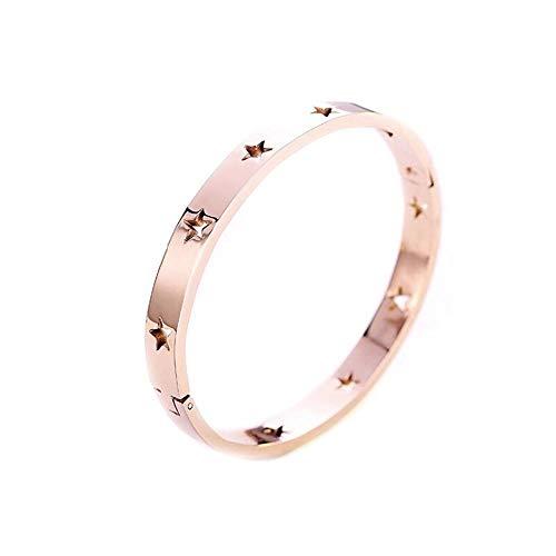 (SUBSTANCE Bracelet with Laser Engraved Stars | Fashion Forward Stainless Steel Bangle | Non Tarnish (Rose Gold))