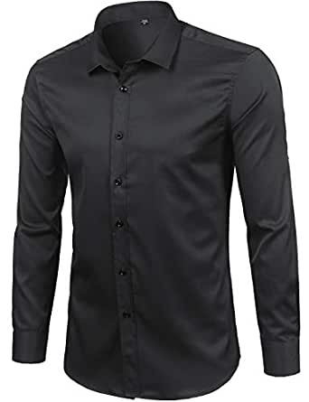 ZEROYAA Mens Hipster Solid Elastic Long Sleeve Fitted Dress Shirts ZGCL01 Black Small