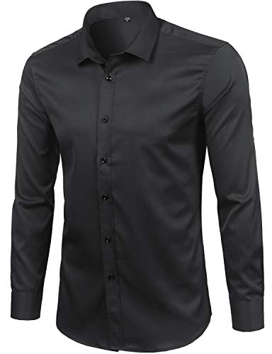- ZEROYAA Mens Hipster Solid Elastic Long Sleeve Fitted Dress Shirts ZGCL01 Black Medium