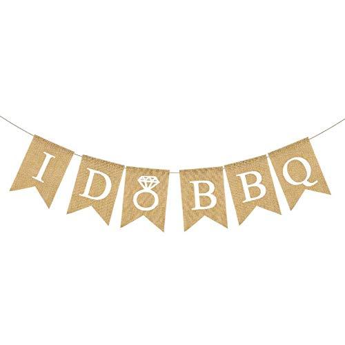 Rainlemon Jute Burlap I Do BBQ Banner Wedding Shower Bridal Shower Engagement Party Garland Decoration
