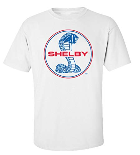 Ford Shelby Cobra Blue & Red Circle Logo Car T-Shirt Adult Men's Short Sleeve-White-XL