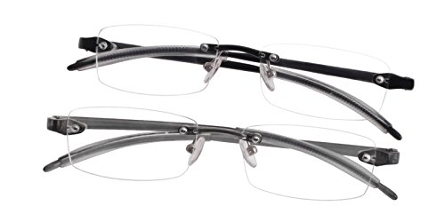 Glassesshop 2 Pack Clear Rimless Reading Glasses Super lightweight and flexible TR90 Material ( 2 Pack)-Black and Gray (Gray/Black, - Flexible Glasses Rimless