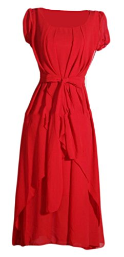 Midi Women's Beach Dresses Cruiize Swing Boho Ruched Belted Red Elegant 6dd0YxB