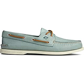Sperry Men's A/O 2-Eye Leather Sneaker, Green, 11.5 Medium