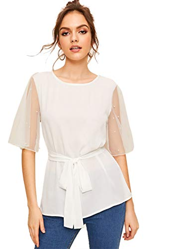 Romwe Women's Short Sleeve Contrast Mesh Pearls Belted Self tie Waist Knot Blouse Top White M