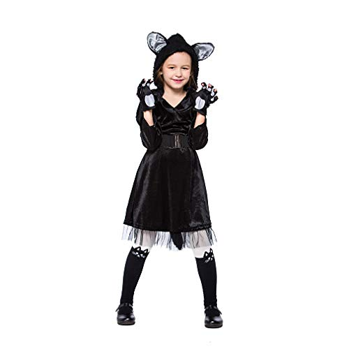 Sl Professional Stage - YaXuan Halloween Costumes Children's Jumpsuit Black Plush Cute Cat Black S-L Stage Costume Carnival/Children's Day Festival/Holiday (Color : Black, Size : M-(115-125) cm Height)