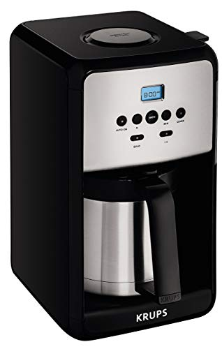 KRUPS ET351 Coffee Maker, Coffee Programmable Maker, Thermal Carafe, 12 Cup, Black (Renewed) ()