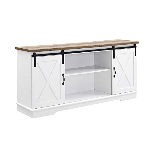 "WE Furniture TV Stand, 58"", White/Rustic Oak"
