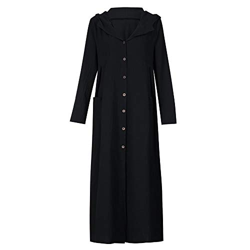 Casual Dress Manteau Longues Noir Magiyard Robe Capuche Long Veste Manches Femmes Loose Maxi qw6w4H