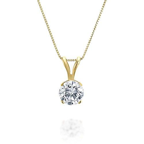 1/5ct tw Diamond Solitaire Pendant in 14k Yellow Gold