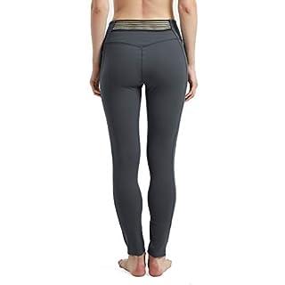 Rataves Womens Sexy Leggings with 3 Pockets High-Waist Yoga Tights Pants Tummy Control Stretch Legging M Senior Ash
