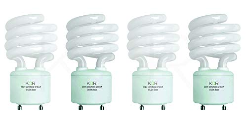 (Pack of 4) 23 Watt Mini Spiral - GU24 Base - (100W Equivalent) - T2 Mini-Twist - CFL Light Bulb - 5000K Bright White