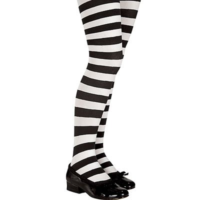 Black and White Striped Tights - Child (7-10(70-100lbs), Black) (Kids Black And White Striped Tights)