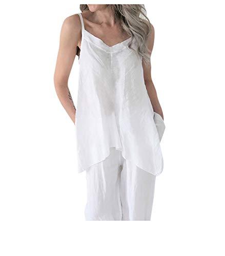 (Women's Casual Summer Irregular V Neck Loose Soild Linen Tunic Top Vest Blouse)