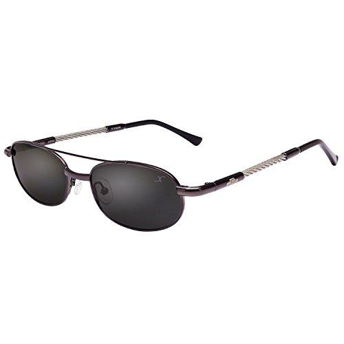 Xezo UV400 Titanium & Steel Cable Wire Polarized Vintage Sunglasses, Dark Grey Metallic, 0.9 - Face Sunglasses Oblong Male For