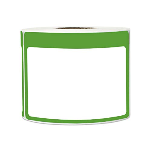 (300 Labels - Name Tag Stickers Write-On Surface with Colorful Border for Visitor Badges (3.5 x 2.25 Inch, Green, 1 Roll))