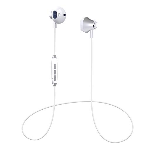 Bluetooth Headphones, Magnetic Wireless Earbuds, Wireless Sports Earphones Bluetooth Headsets Earpieces Compatible for iPhone XS/X/8/7 Plus Samsung Galaxy S8 Note 8 Bluetooth Enabled Devices(White)