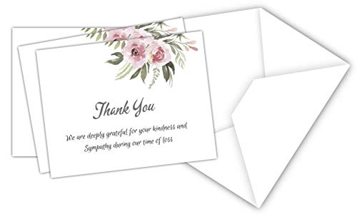 20 Celebration of life Funeral thank you cards with envelopes acknowledgment memorial Sympathy Thank you Cards