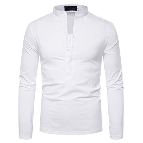 ANJUNIE Men's Slim Fit Henley Shirt Casual Long Sleeve Pullover Lightweight Cotton T-Shirts Sweater(White,M)
