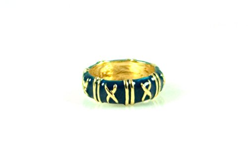 """- ENAMEL STACKABLE RING WITH GOLD """"X"""" ACCENTS (Blue/Navy, 7)"""