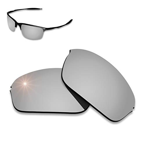 (AHABAC Chrome Titanium Mirrored Coating Lenses Replacement for Oakley Half Wire 2.0 Frame Varieties - Polarized & Anti-Reflective & Water)