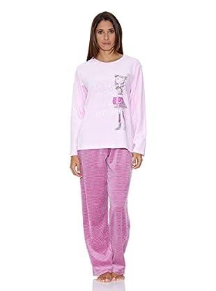 e6f67e120f Muslher Pijama Señora Con Cuello Redondo Estampado Niña Pantalon A Rayas ( Rosa)